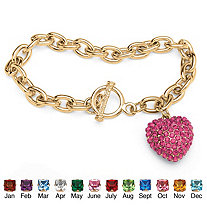 Crystal Heart Charm Birthstone Toggle Bracelet in Yellow Gold Tone