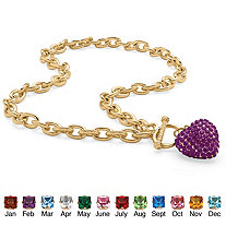 Crystal Heart Charm Birthstone Toggle Necklace in Yellow Gold Tone