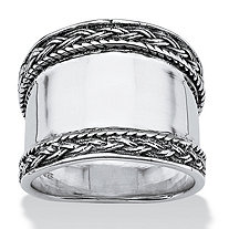 Cigar Band Style Ring with Braided Accent in Sterling Silver