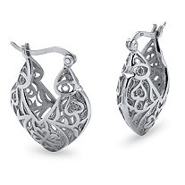 Filigree Heart Hoop Earrings in Sterling Silver