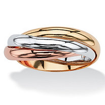 Interlocking Rings in Tri-tone Rose Gold-Plated, 18k Gold-Plated and Silvertone