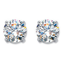 6 TCW Cubic Zirconia Clip-On Earrings Silvertone