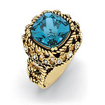 Blue Cushion-Cut Crystal Rope Ring Antiqued 14k Gold-Plated