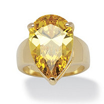15.47 Carat Yellow Pear-Cut Cubic Zirconia Ring 14k Gold-Plated