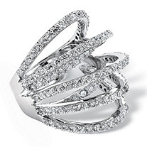 2.81 TCW Cubic Zirconia Multi-Wrap Dome Ring in Silvertone