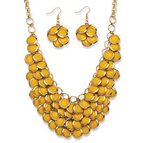2 Piece Yellow Bib Necklace and Cluster Earrings Set in Yellow Gold Tone
