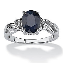 2.20 TCW Midnight Blue Oval-Cut Sapphire Ring With Diamond Accents in Platinum over Sterling Silver