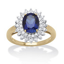 2.60 TCW Oval-Cut Midnight Blue Sapphire and Round Cubic Zirconia Ring in 18k Gold over Sterling