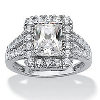 1.89 TCW Emerald-Cut Cubic Zirconia Engagement/Anniversary Ring in Platinum over Sterling Silver