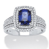 1.94 TCW Emerald-Cut Midnight Blue Sapphire and Round Cubic Zirconia Ring in Platinum over Sterling