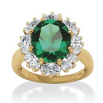 7.08 TCW Lab Created Oval-Cut Emerald with Cubic Zirconia Accents in 18k Gold over Sterling Silver