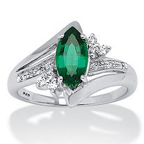 1.52 TCW Marquise-Cut Lab Created Emerald and Round CZ Accent Ring in Platinum over Sterling Silver