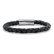 Men's Black Leather Bracelet with Stainless Steel Slip Lock Closure