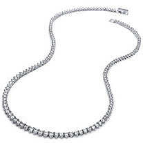 9.55 TCW Round Cubic Zirconia Eternity Necklace Platinum Plated