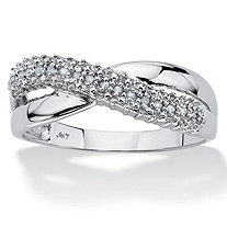 Diamond Accent Crossover Ring in 10k White Gold