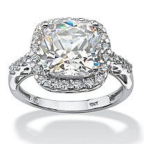3.20 TCW Princess-Cut Halo Cubic Zirconia Ring in 10k White Gold