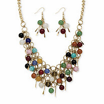 2 Piece Multi-Colored Jade Bib Necklace and Earrings Set in Yellow Gold Tone