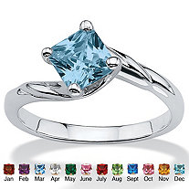 Princess-Cut Birthstone Twist Ring in Sterling Silver