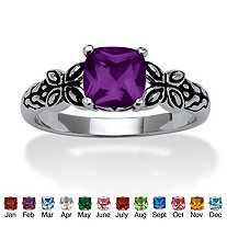 Cushion-Cut Birthstone Ring in Antiqued Sterling Silver