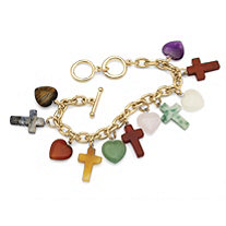 Multi-Colored Agate Heart and Cross Charm Bracelet in Yellow Gold Tone