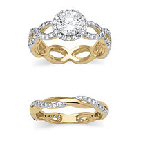 2 Piece 2.50 TCW Round Cubic Zirconia Bridal Ring Set in 14k Gold over Sterling Silver