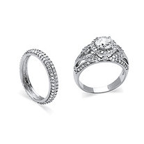 2 Piece 2.60 TCW Round Cubic Zirconia Bridal Ring Set in Platinum over Sterling Silver