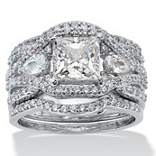 3 Piece 3.12 TCW Princess-Cut CZ Bridal Set in Platinum Over Sterling Silver