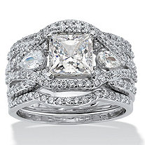 3 Piece 3.12 TCW Princess-Cut CZ Bridal Ring Set in Platinum over Sterling Silver