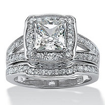 2 Piece 2.50 TCW Princess-Cut Cubic Zicronia Bridal Ring Set in Platinum over Sterling Silver