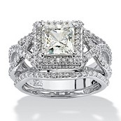 3 Piece 2.82 TCW Princess-Cut CZ Bridal Set in Platinum Over Sterling Silver
