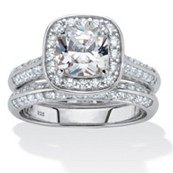 2 Piece 2.08 TCW Cushion-Cut CZ Bridal Set in Platinum Over Sterling Silver