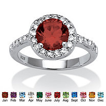 Simulated Round Birthstone and .55 TCW CZ Ring in Sterling Silver