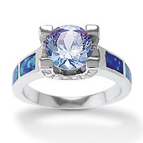 3 TCW Tanzanite CZ, Clear CZ and Blue Opal Ring in Sterling Silver