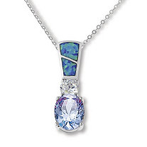 3.04 TCW Tanzanite CZ, Clear CZ and Blue Opal Pendant Necklace in Sterling Silver