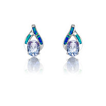 1.52 TCW Tanzanite Cubic Zirconia and Blue Opal Earrings in Sterling Silver