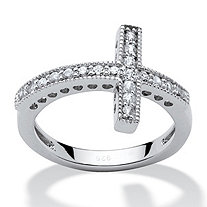 .30 TCW Cubic Zirconia Horizontal Cross Ring in Sterling Silver