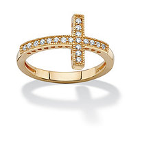 .30 TCW Cubic Zirconia Horizontal Cross Ring in 14k Gold over Sterling Silver