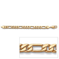 Men's Figaro-Link Bracelet in Yellow Gold Tone 11""