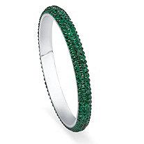 Green Pave Crystal Bangle Bracelet in Silvertone