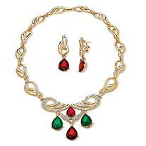 2 Piece Red and Green Crystal Holiday Jewelry Set in Yellow Gold Tone
