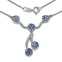 1.40 TCW Tanzanite Pave Lariat Necklace in Platinum over Sterling Silver
