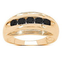 Men's 1/2 TCW Black Diamond Channel Set Ring in 14k Gold over Sterling Silver