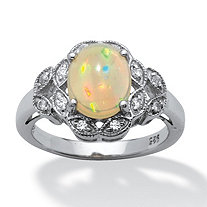 Oval Cabochon and Cubic Zirconia Accented Ring in Platinum over Sterling Silver