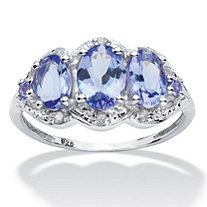 1.98 TCW Oval Tanzanite and Diamond Ring in Platinum over Sterling Silver