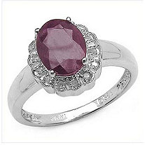 2.24 TCW Oval Ruby and Diamond Ring in Platinum over Sterling Silver