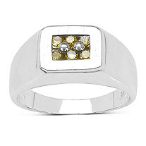 Men's 1/7 TCW Yellow Diamond ring in Platinum over Sterling Silver