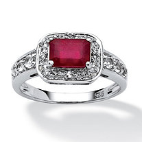 2.05 TCW Emerald Cut Ruby and White Topaz Accented Ring in Platinum over Sterling Silver