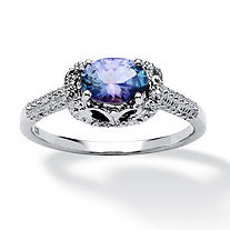 .93 TCW Oval-Cut Tanzanite and White Sapphire Accented Ring in Platinum over Sterling Silver