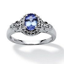 1.01 TCW Oval-Cut Tanzanite and White Topaz Accented Ring in Platinum over Sterling Silver