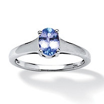 .89 TCW Oval-Cut Tanzanite Solitaire Ring in Platinum over Sterling Silver